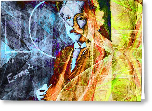Quantum Mechanics Greeting Cards - A Person Who Never Made A Mistake Never Tried Anything New - Einstein in Abstract 20140908 square Greeting Card by Wingsdomain Art and Photography