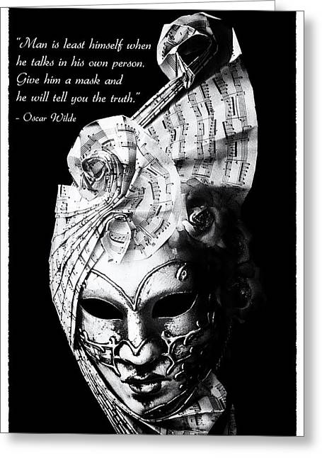 Masking Greeting Cards - A picture of a venitian mask accompanied by an Oscar Wilde quote Greeting Card by Nila Newsom