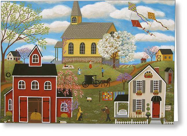 Horse And Buggy Paintings Greeting Cards - A Picture Perfect Day Greeting Card by Mary Charles