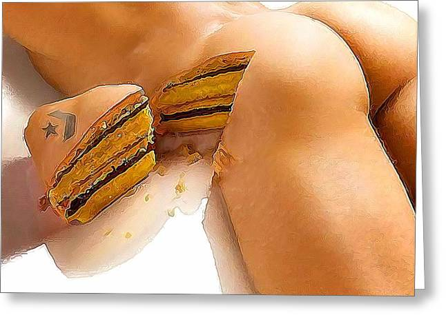 Male Domination Greeting Cards - A piece of cake Greeting Card by Bob Bienpensant
