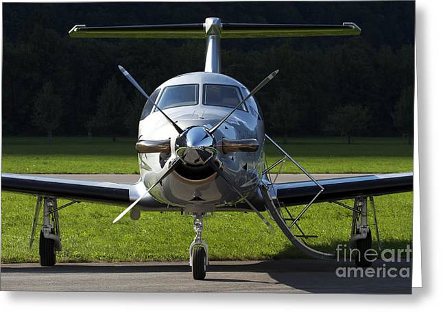 Private Jet Greeting Cards - A Pilatus Pc-12 Private Jet Greeting Card by Luca Nicolotti