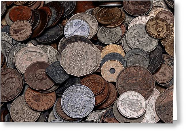 New Britain Digital Art Greeting Cards - A Pile of Old Coins Greeting Card by Liam Liberty