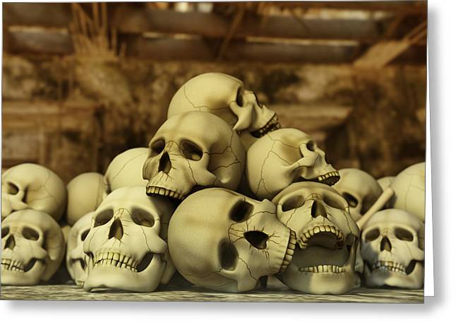Bone Pile Greeting Cards - A Pile of Skulls Greeting Card by Liam Liberty