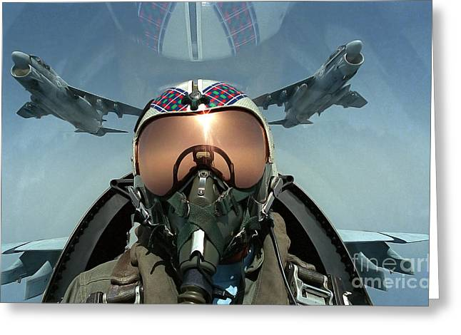 Best Sellers -  - Self-portrait Photographs Greeting Cards - A Pilot Takes A Self Portrait Greeting Card by Stocktrek Images
