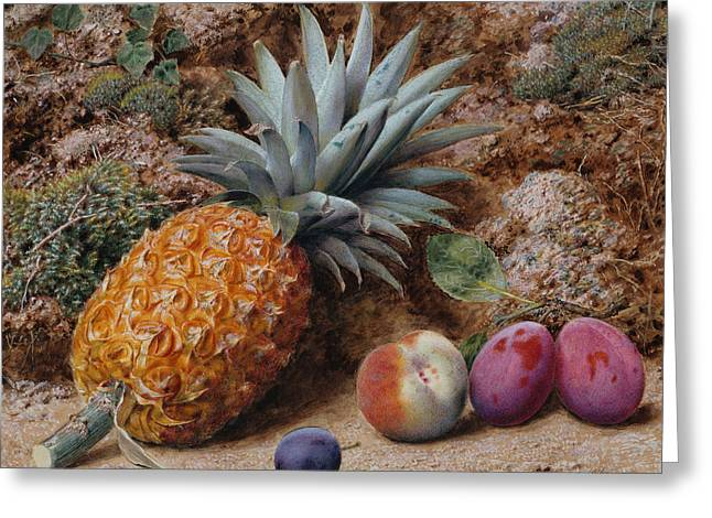A Pineapple A Peach And Plums On A Mossy Bank Greeting Card by John Sherrin