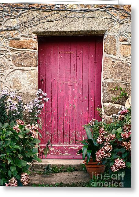 French Doors Greeting Cards - A Pink Door Greeting Card by Olivier Le Queinec