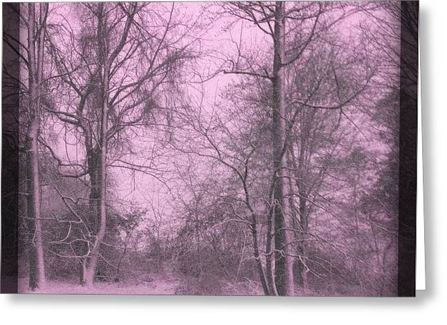 Snowstorm Greeting Cards - A Pink Glance of Winter Greeting Card by Majula Warmoth