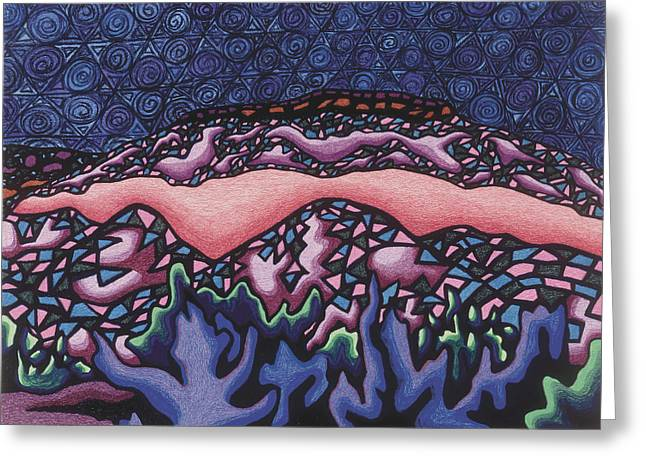 Santa Fe Mixed Media Greeting Cards - A pink line at night Greeting Card by Dale Beckman