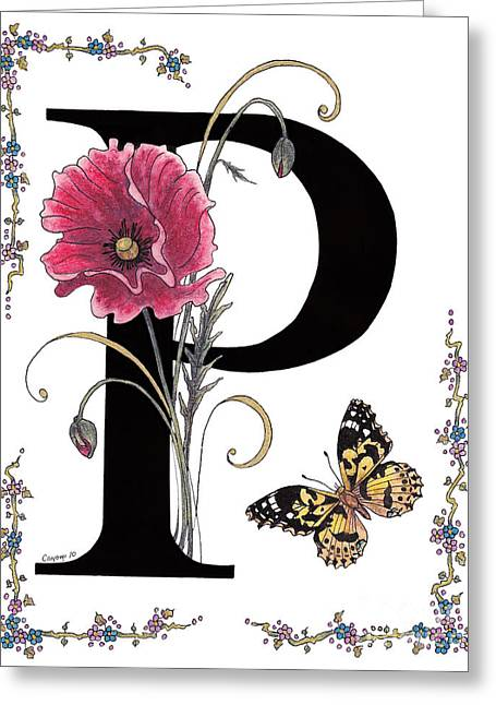 Stanza Widen Greeting Cards - A Pink Poppy and a Painted Lady Butterfly Greeting Card by Stanza Widen