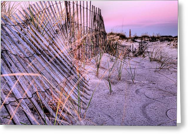 Jones Beach Greeting Cards - A Pink Sunrise Greeting Card by JC Findley