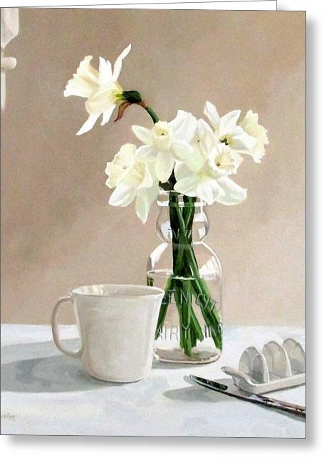 Sandra Chase Paintings Greeting Cards - A Pint of Daffodils Greeting Card by Sandra Chase