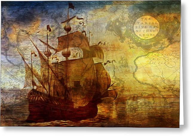 Sailing Ship Mixed Media Greeting Cards - A Pirates Life Vintage Greeting Card by Georgiana Romanovna
