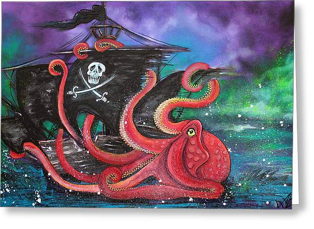 Pirate Ship Greeting Cards - A Pirates Tale - Attack Of The Mutant Octopus Greeting Card by Laura Barbosa