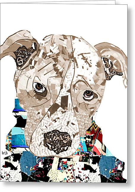 Rescue Mixed Media Greeting Cards - A Pit Bull Day Greeting Card by Bri Buckley