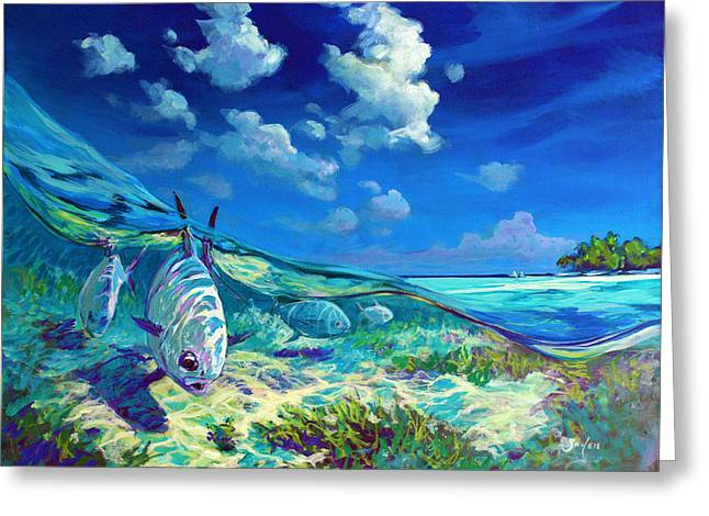 Sportfishing Greeting Cards - A Place Id Rather Be - Caribbean Permit Fly Fishing Painting Greeting Card by Mike Savlen