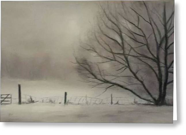 Snow Scene Pastels Greeting Cards - A place in Bedford Greeting Card by Josee Severino