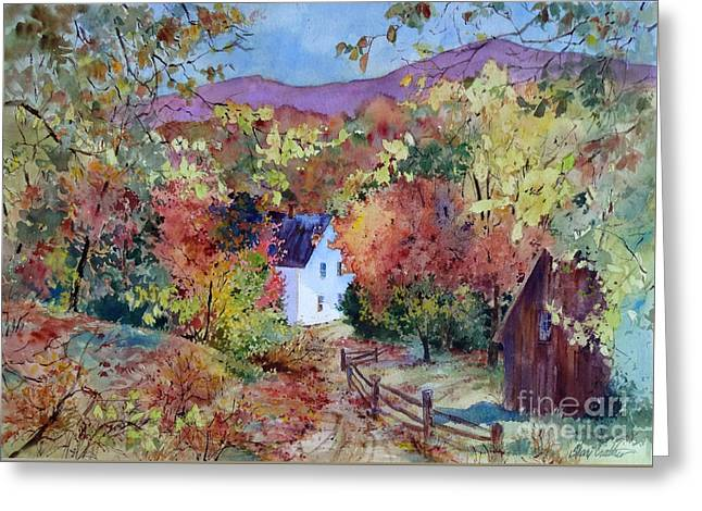 Split Rail Fence Paintings Greeting Cards - A Place in the Hills Greeting Card by Sherri Crabtree