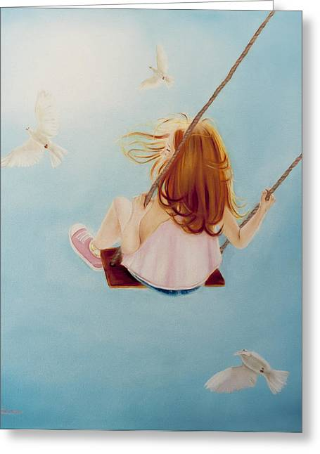 Child Swinging Paintings Greeting Cards - A Place of Heaven Greeting Card by Jeanette Sthamann