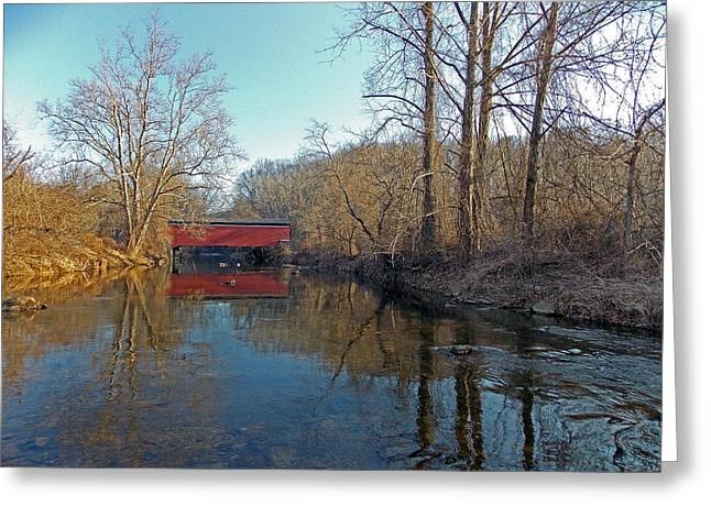 Covered Bridge Greeting Cards - A Place To Hide In The Rain Greeting Card by Skip Willits