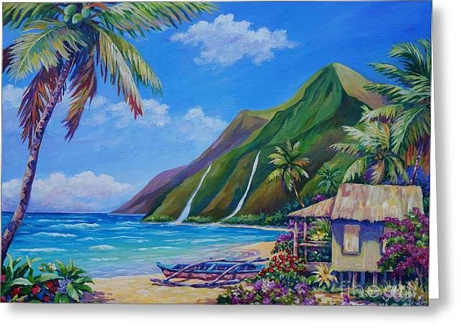 Hanalei Beach Greeting Cards - A Place to Play Greeting Card by John Clark