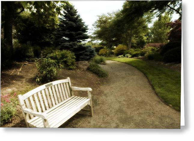 Park Benches Greeting Cards - A Place to Rest Greeting Card by Bonnie Bruno