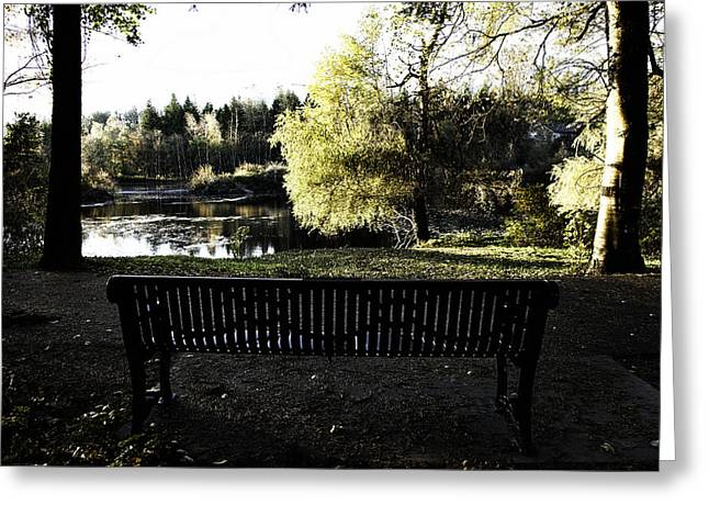 Park Benches Greeting Cards - A Place to Think - Fishtrap Creek Park Greeting Card by Monte Arnold