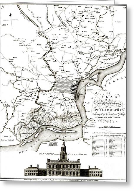 Philadelphia History Drawings Greeting Cards - A plan of the city and environs of Philadelphia - 1777 Greeting Card by Pablo Romero