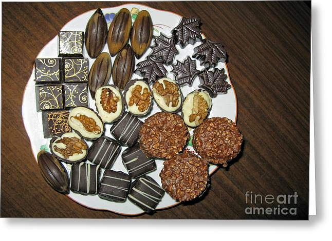Milk Tooth Greeting Cards - A Plate of Chocolate Sweets Greeting Card by Ausra Paulauskaite