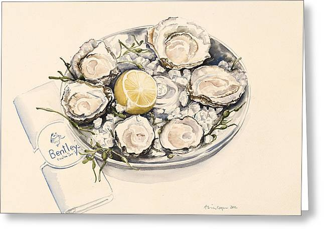A Plate Of Oysters Greeting Card by Alison Cooper