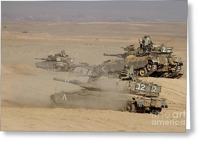 Battletank Greeting Cards - A Platoon Of Israel Defense Force Greeting Card by Ofer Zidon