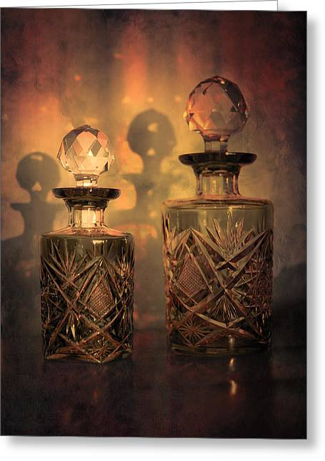 Cut Glass Greeting Cards - A Play of Light at Dusk Greeting Card by Loriental Photography