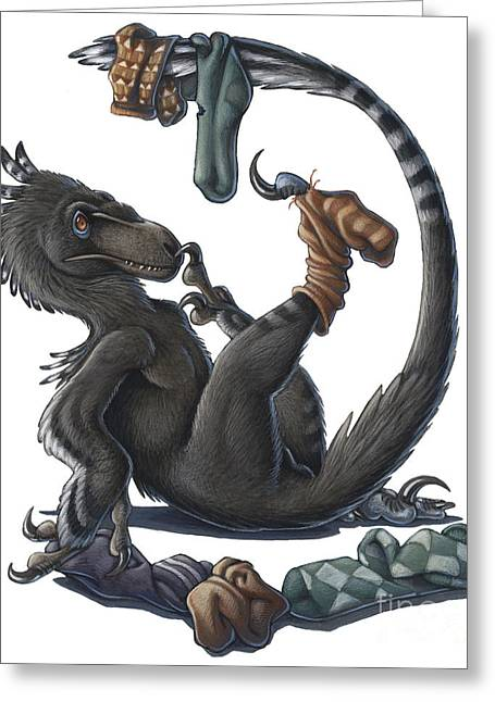 Dromaeosaurid Greeting Cards - A Playful Deinonychus Dinosaur Playing Greeting Card by H. Kyoht Luterman