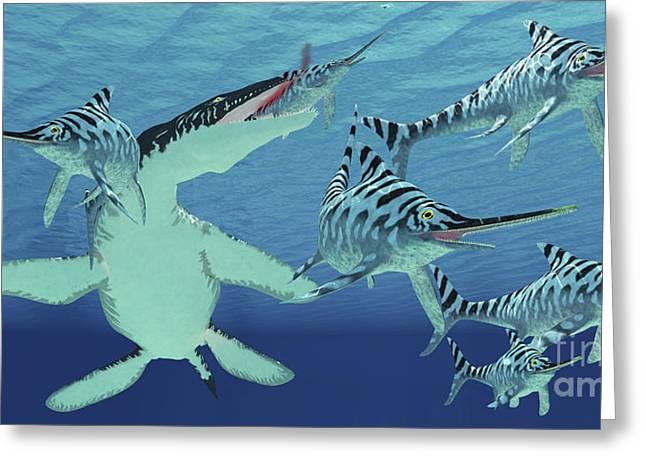 A Pod Of Eurhinosaurus Marine Reptiles Greeting Card by Corey Ford