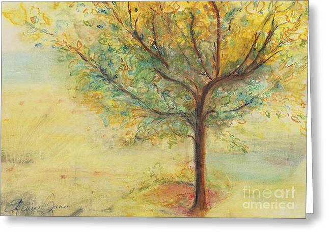 Expression Pastels Greeting Cards - A Poem Lovely As A Tree Greeting Card by Helena Bebirian