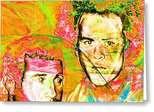 60s Music Greeting Cards - A Poet And A One Man Band Simon and Garfunkel 20140908 square v2 Greeting Card by Wingsdomain Art and Photography