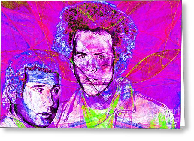 60s Music Greeting Cards - A Poet And A One Man Band Simon and Garfunkel 20140908 Greeting Card by Wingsdomain Art and Photography