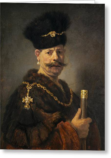 Gold Necklace. Greeting Cards - A Polish Nobleman Greeting Card by Rembrandt