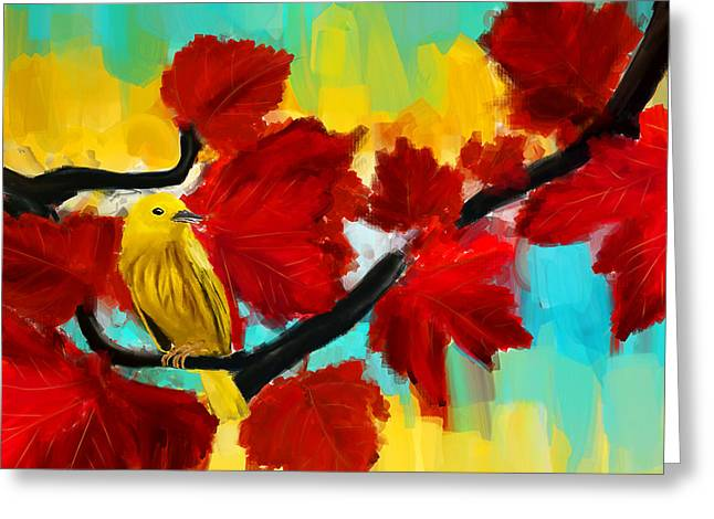 Tropical Bird Art Greeting Cards - A Ponder Greeting Card by Lourry Legarde