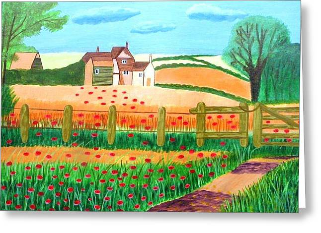 Magdalena Frohnsdorff Greeting Cards - A Poppy Field Greeting Card by Magdalena Frohnsdorff
