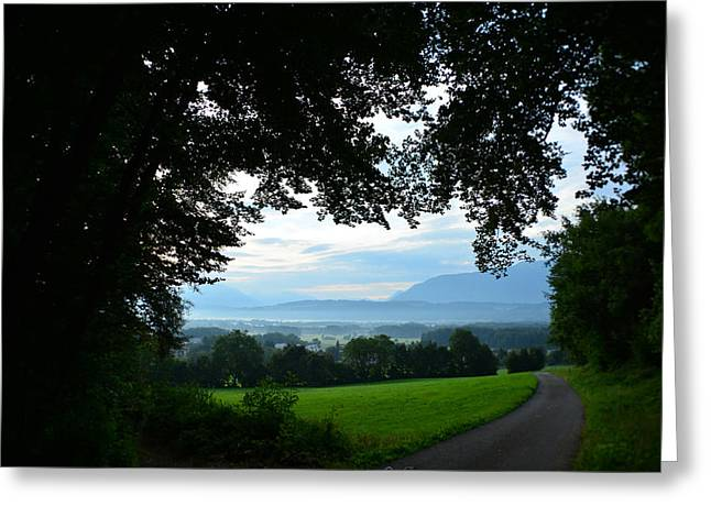 Foggy Road Greeting Cards - A Portal to Hungary Greeting Card by Mountain Dreams