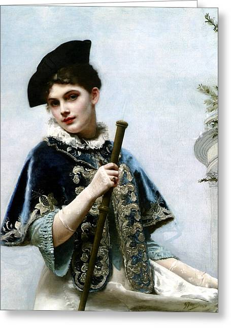 Young Lady Greeting Cards - A Portrait Of A Nobel Lady Greeting Card by Gustave Jean Jacquet