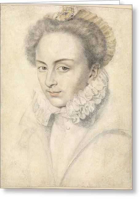 Collar Drawings Greeting Cards - A portrait of a young woman in a ruffled collar Greeting Card by Daniel Dumonstier