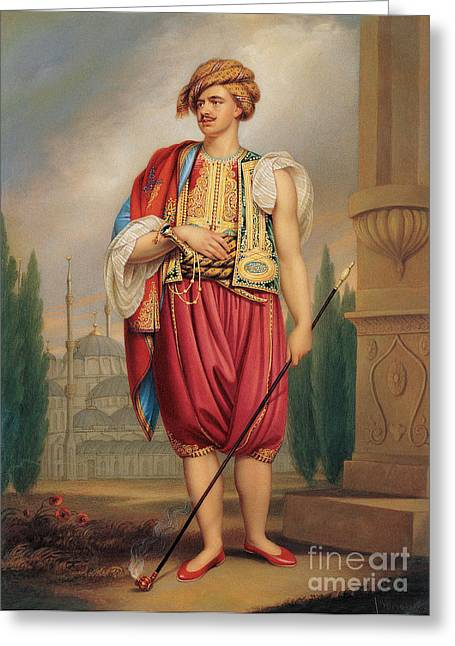 Think In Greeting Cards - A Portrait of Thomas Hope in Turkish Costume Greeting Card by Celestial Images