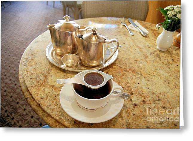 Marble Top Table Greeting Cards - A Pot of Tea English style Greeting Card by Ross Sharp