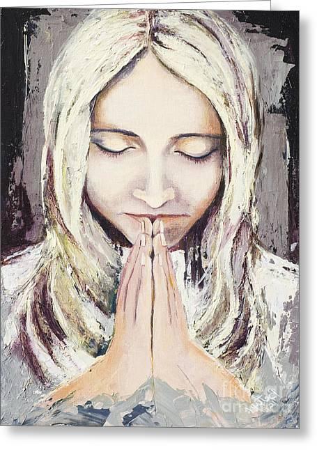 Acrylic Art Greeting Cards - A Prayer... Greeting Card by Elisabeta Hermann