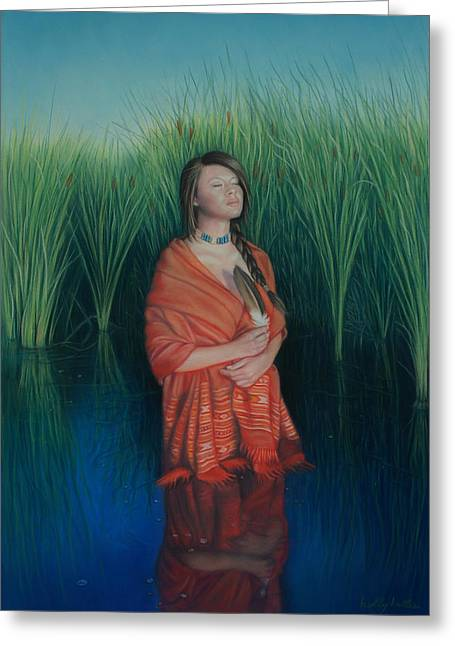 Native American Woman Greeting Cards - A Prayer for the Waters Greeting Card by Holly Kallie
