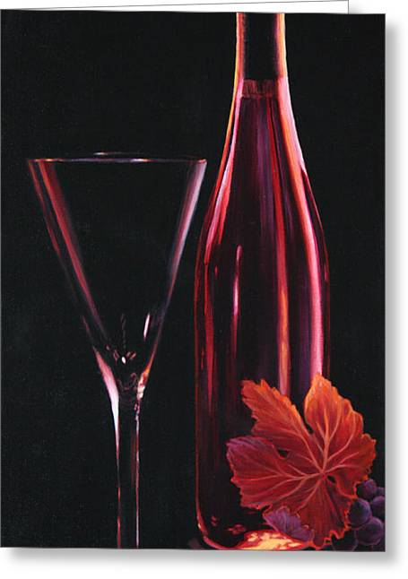 Wine Reflection Art Greeting Cards - A Prelude to Romance Greeting Card by Sandi Whetzel
