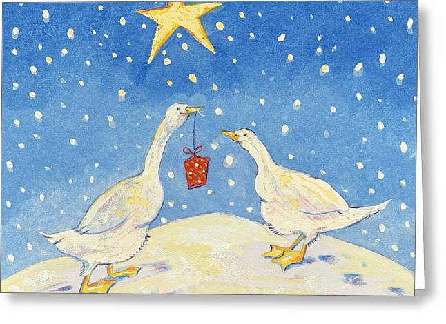 Geese Photographs Greeting Cards - A Present For You, 2008 Gouache Greeting Card by David Cooke