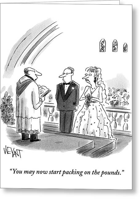 A Priest Marries A Bride And Groom Greeting Card by Christopher Weyant
