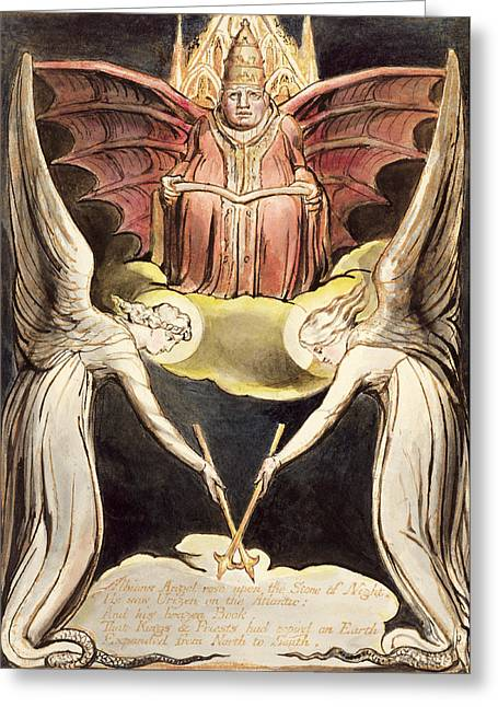 Angel Drawings Greeting Cards - A Priest On Christs Throne Greeting Card by William Blake
